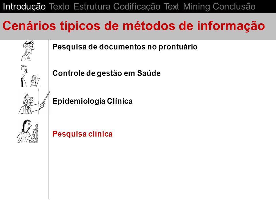 Epidemiologia Clínica Controle de gestão em Saúde Pesquisa de documentos no prontuário Cenários típicos de métodos de informação Pesquisa clínica Introdução Texto Estrutura Codificação Text Mining Conclusão