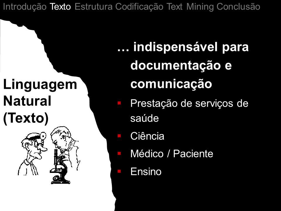 Structured Data … indispensável para documentação e comunicação Prestação de serviços de saúde Ciência Médico / Paciente Ensino Linguagem Natural (Texto) Introdução Texto Estrutura Codificação Text Mining Conclusão