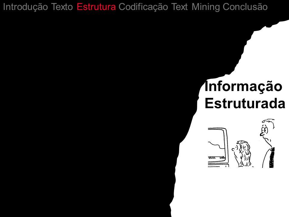 Informação Estruturada Introdução Texto Estrutura Codificação Text Mining Conclusão