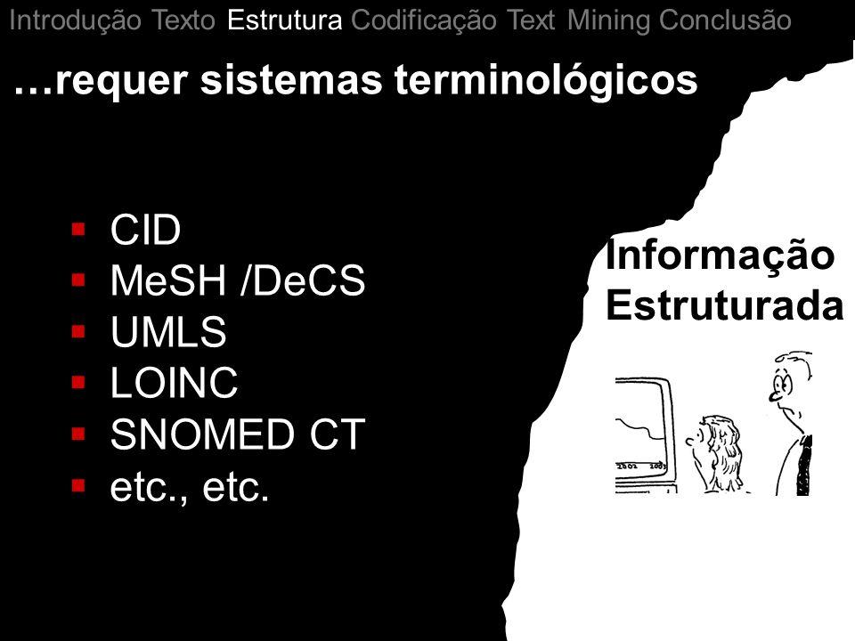 …requer sistemas terminológicos CID MeSH /DeCS UMLS LOINC SNOMED CT etc., etc. Informação Estruturada Introdução Texto Estrutura Codificação Text Mini