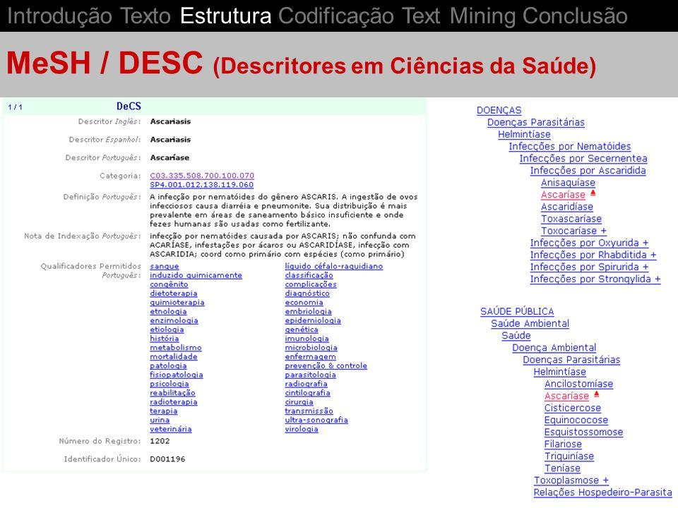 MeSH / DESC (Descritores em Ciências da Saúde) Introdução Texto Estrutura Codificação Text Mining Conclusão