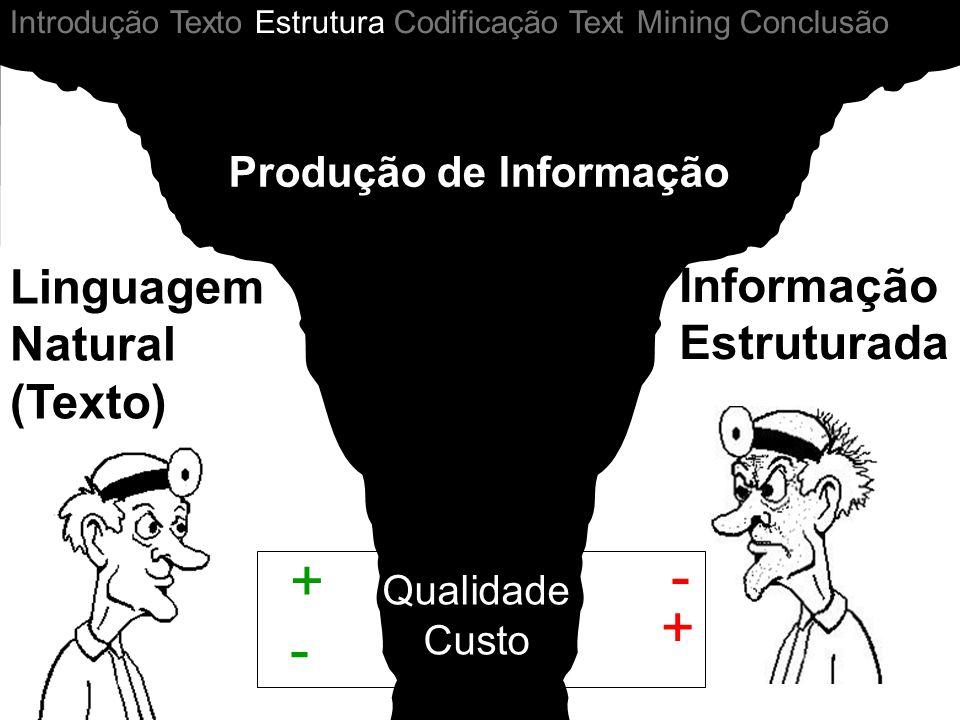 - + + - Linguagem Natural (Texto) Informação Estruturada Qualidade Custo Introdução Texto Estrutura Codificação Text Mining Conclusão Produção de Info