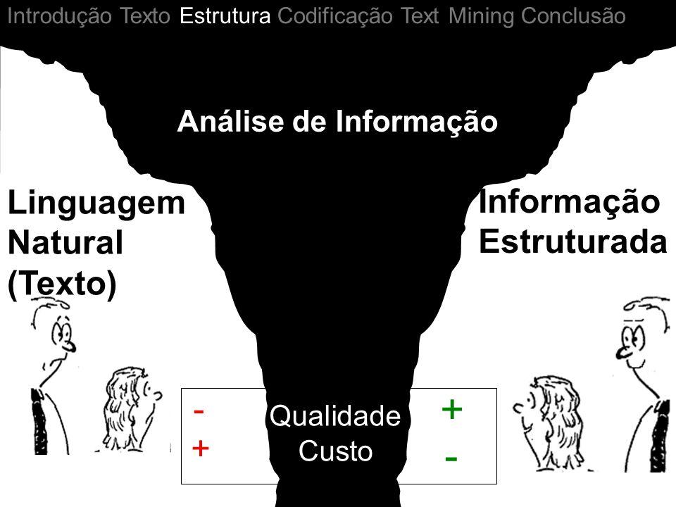 Análise de Informação - + + - Qualidade Custo Linguagem Natural (Texto) Informação Estruturada Introdução Texto Estrutura Codificação Text Mining Conc