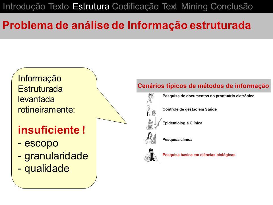 Informação Estruturada levantada rotineiramente: insuficiente ! - escopo - granularidade - qualidade Problema de análise de Informação estruturada Int