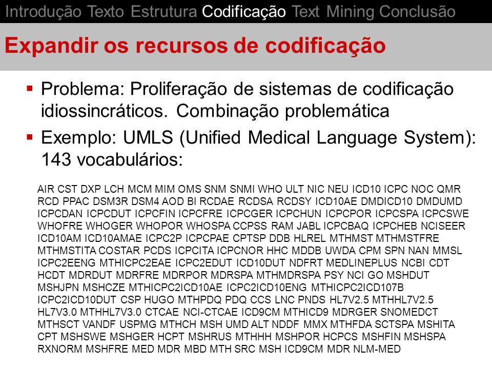 Expandir os recursos de codificação Problema: Proliferação de sistemas de codificação idiossincráticos. Combinação problemática Exemplo: UMLS (Unified