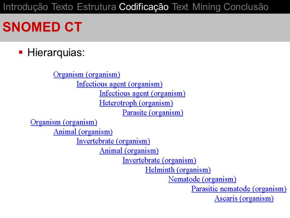 SNOMED CT Hierarquias: Introdução Texto Estrutura Codificação Text Mining Conclusão