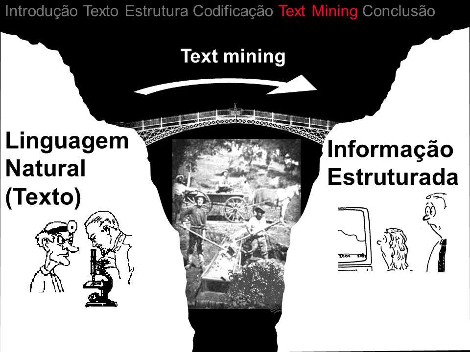 a Informação Estruturada Linguagem Natural (Texto) Introdução Texto Estrutura Codificação Text Mining Conclusão Text mining