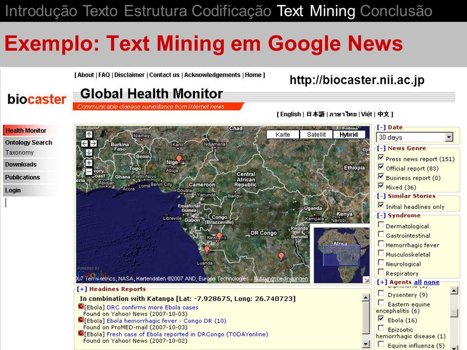 Exemplo: Text Mining em Google News Introdução Texto Estrutura Codificação Text Mining Conclusão http://biocaster.nii.ac.jp