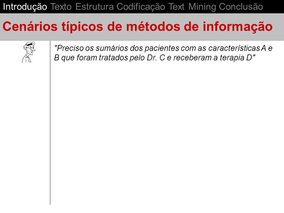 Informação Não-Estruturada Informação Estruturada Introdução Texto Estrutura Codificação Text Mining Conclusão