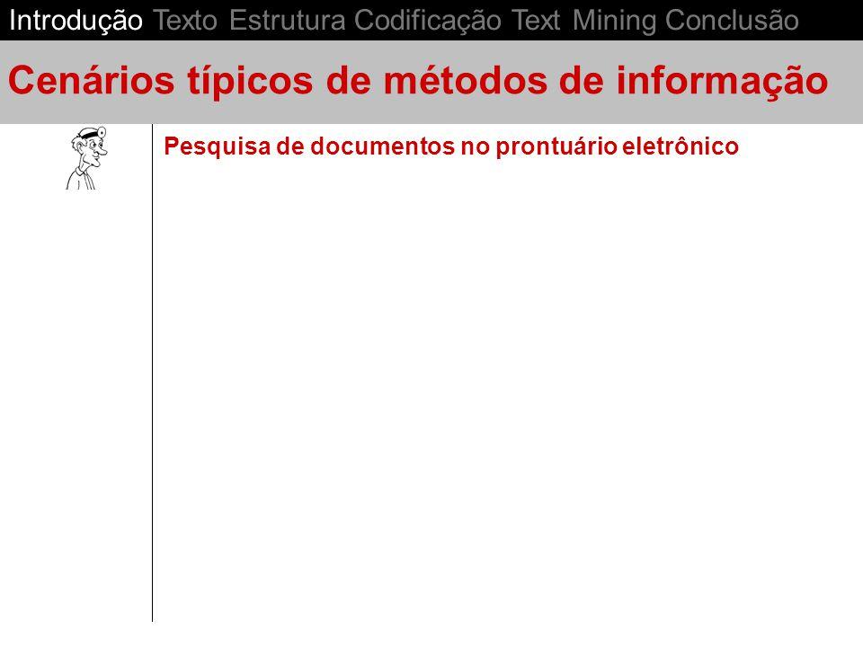 Pesquisa de documentos no prontuário eletrônico Cenários típicos de métodos de informação Introdução Texto Estrutura Codificação Text Mining Conclusão