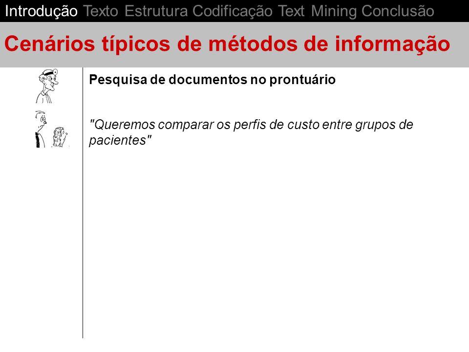 Controle de gestão em Saúde Pesquisa de documentos no prontuário Cenários típicos de métodos de informação Introdução Texto Estrutura Codificação Text Mining Conclusão