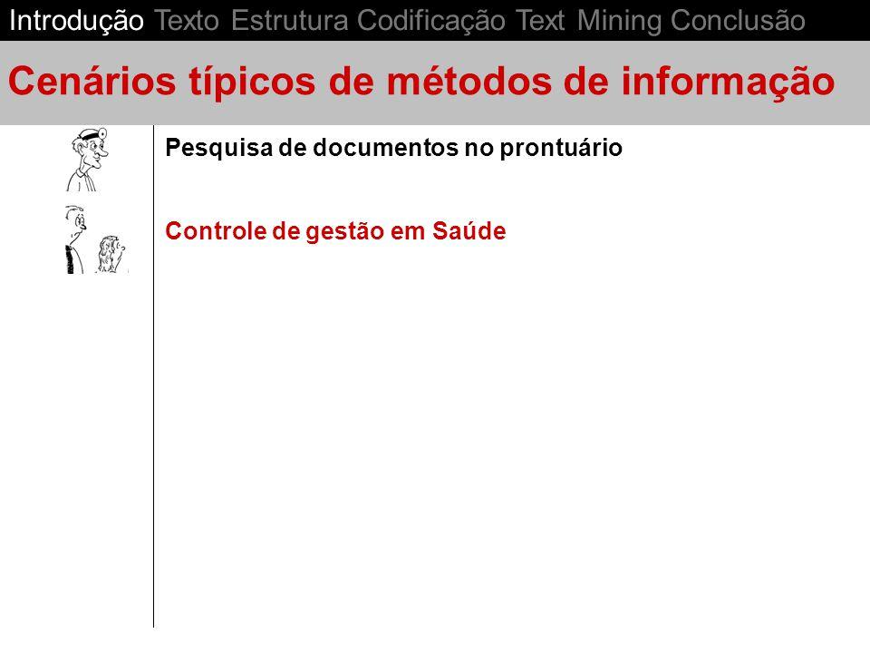 Controle de gestão em Saúde Pesquisa de documentos no prontuário Cenários típicos de métodos de informação Introdução Texto Estrutura Codificação Text