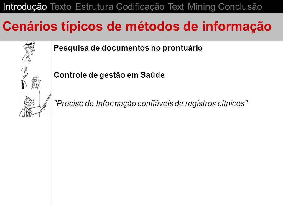 Preciso de Informação confiáveis de registros clínicos Controle de gestão em Saúde Pesquisa de documentos no prontuário Cenários típicos de métodos de informação Introdução Texto Estrutura Codificação Text Mining Conclusão