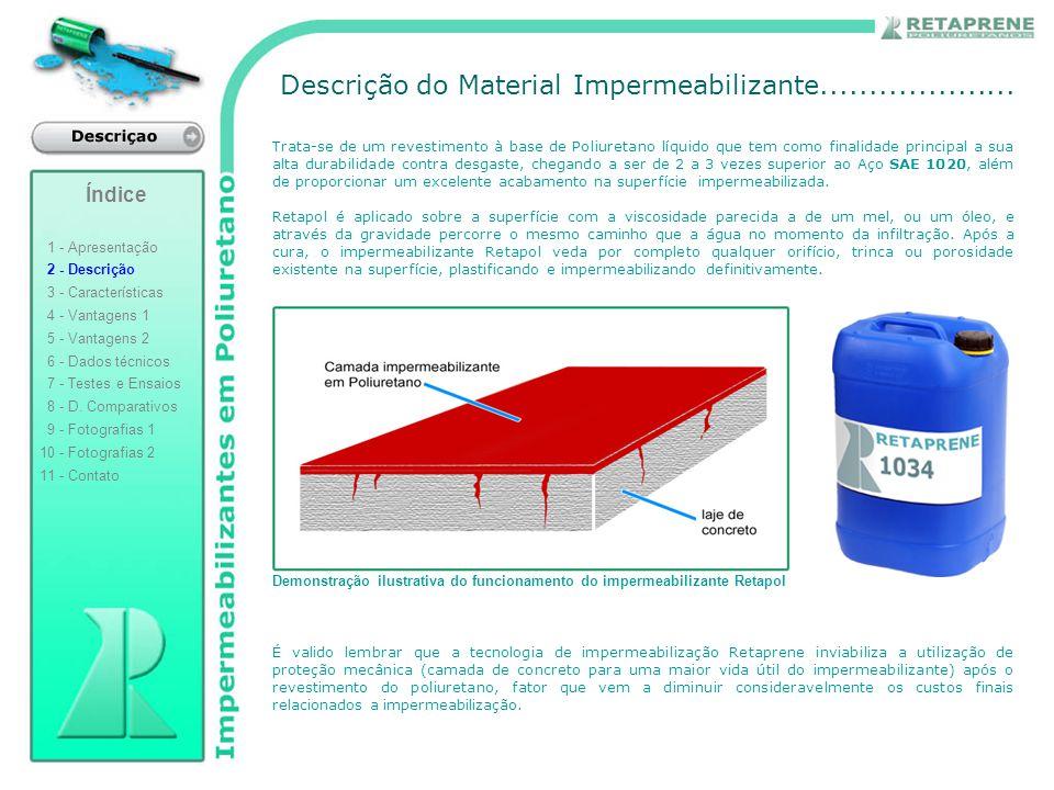 Descrição do Material Impermeabilizante.................... Trata-se de um revestimento à base de Poliuretano líquido que tem como finalidade principa