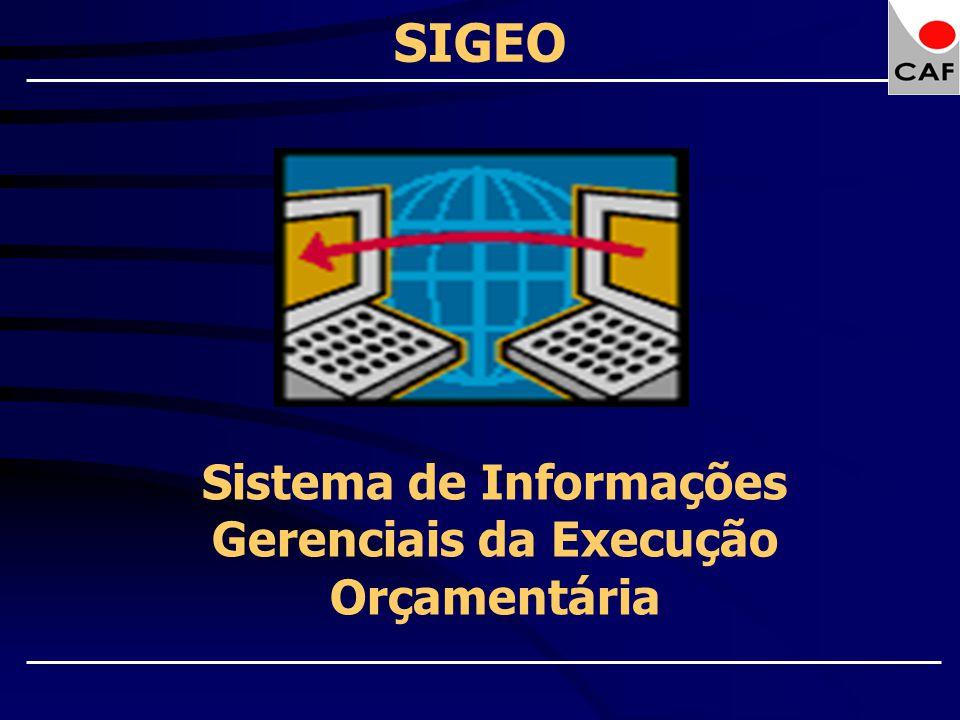 SIGEO Sistema de Informações Gerenciais da Execução Orçamentária