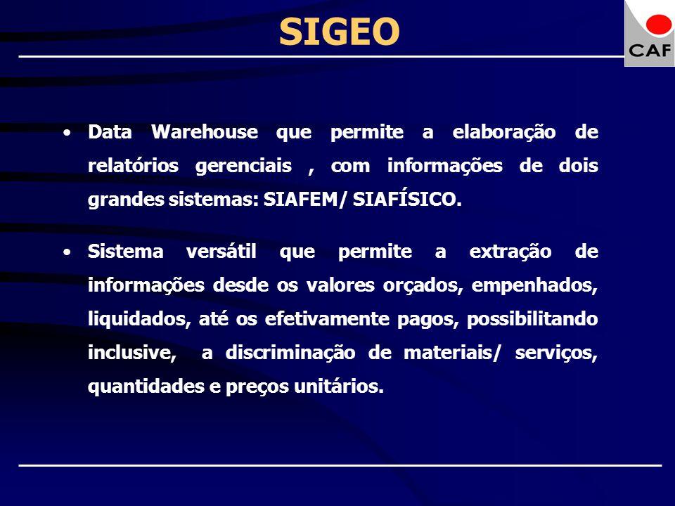SIGEO Data Warehouse que permite a elaboração de relatórios gerenciais, com informações de dois grandes sistemas: SIAFEM/ SIAFÍSICO. Sistema versátil