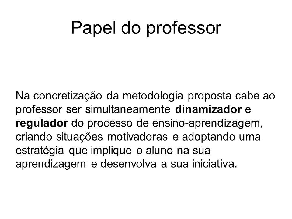 Papel do professor Na concretização da metodologia proposta cabe ao professor ser simultaneamente dinamizador e regulador do processo de ensino-aprend