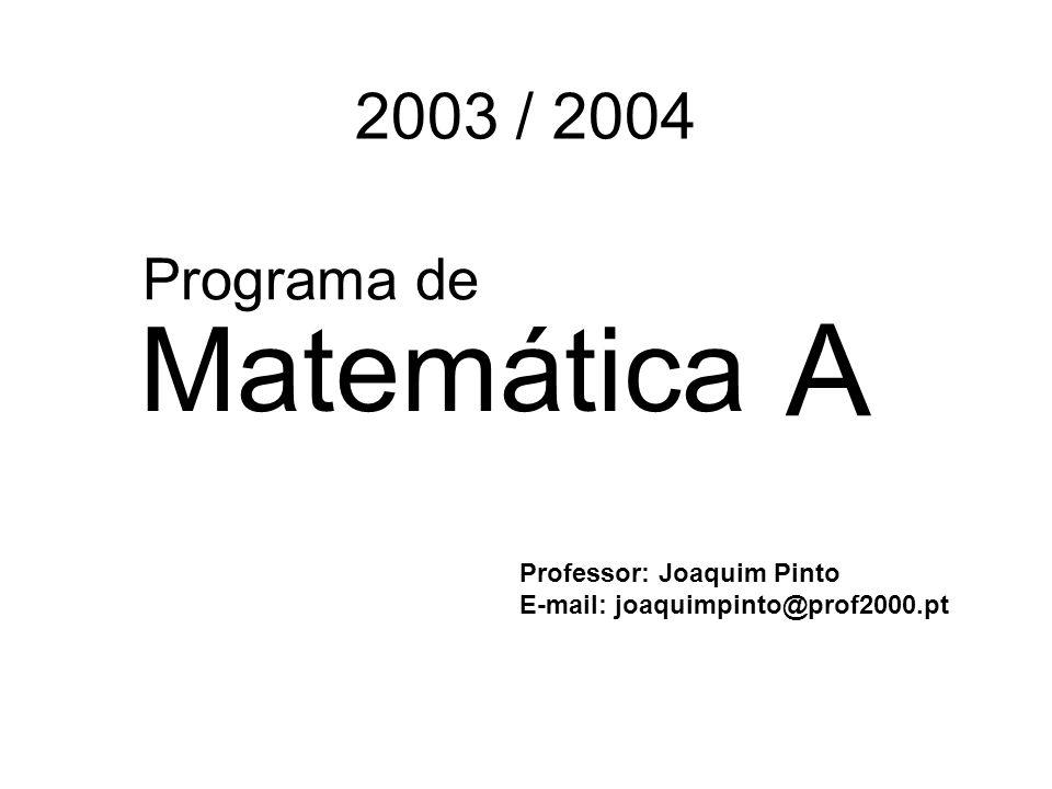 2003 / 2004 Matemática Professor: Joaquim Pinto E-mail: joaquimpinto@prof2000.pt Programa de A