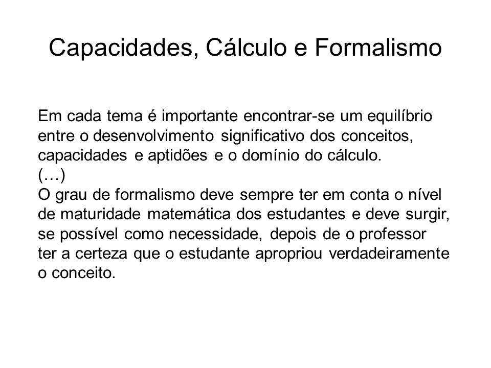 Capacidades, Cálculo e Formalismo Em cada tema é importante encontrar-se um equilíbrio entre o desenvolvimento significativo dos conceitos, capacidades e aptidões e o domínio do cálculo.