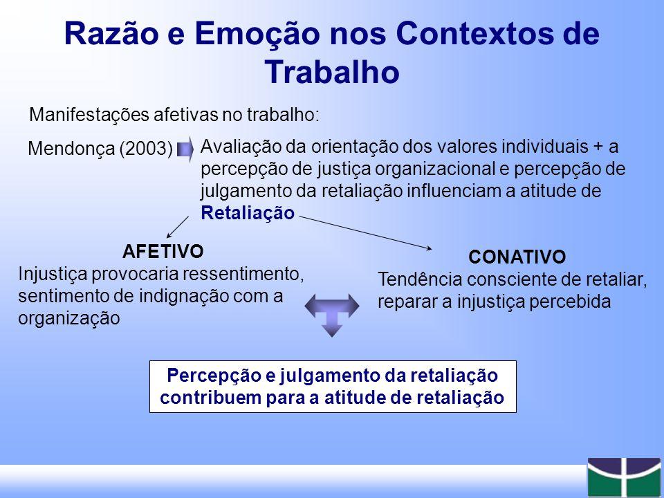 Razão e Emoção nos Contextos de Trabalho Interações, Redes, Apoio e Pessoalidade Papel Profissional, Hierarquia, Diretividade e Impessoalidade Foco Inter-Pessoal Pessoa, Afeto e Motivação Papel Profissional, Cognição e Obediência Foco Intra-Pessoal Processo, Qualidade e Espontaneidade Resultado, Qualidade e Controle Foco no Meio/Fim PsicossocialTécnicoFoco no Sistema Emoção (Plano Subjetivo) Razão (Plano Objetivo) DOMÍNIO Polaridade entre Razão e Emoção em Organizações