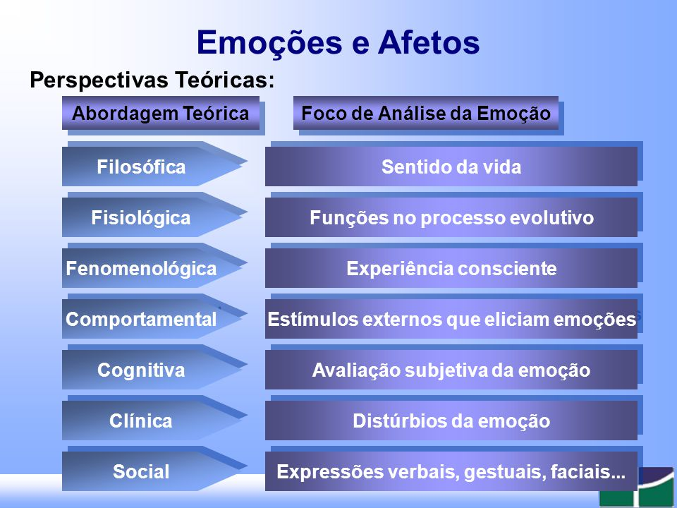 Emoções e Afetos Muitas perspectivas teóricas.