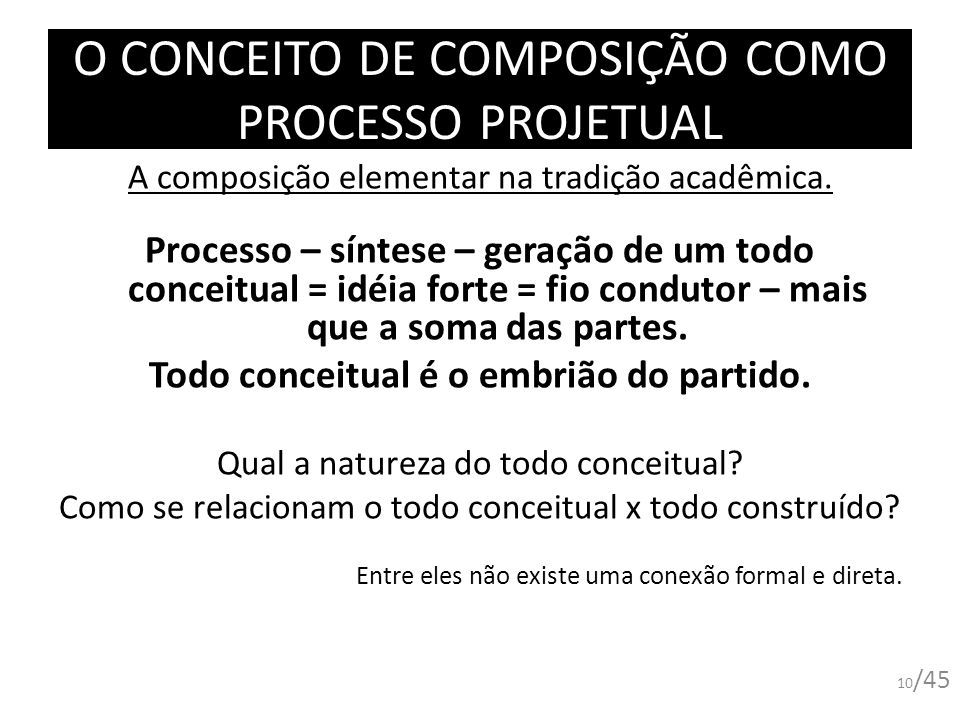 O CONCEITO DE COMPOSIÇÃO COMO PROCESSO PROJETUAL 10 /45 A composição elementar na tradição acadêmica. Processo – síntese – geração de um todo conceitu