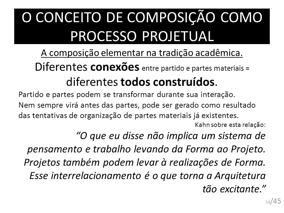 O CONCEITO DE COMPOSIÇÃO COMO PROCESSO PROJETUAL A composição elementar na tradição acadêmica. Diferentes conexões entre partido e partes materiais =