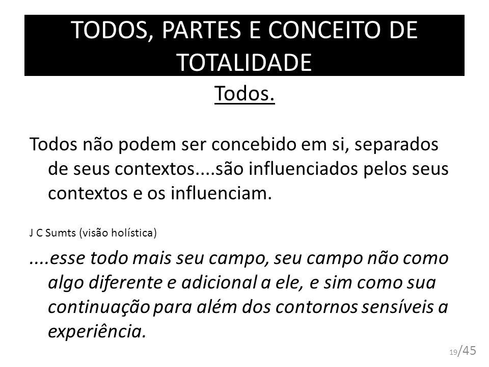 TODOS, PARTES E CONCEITO DE TOTALIDADE Todos. Todos não podem ser concebido em si, separados de seus contextos....são influenciados pelos seus context