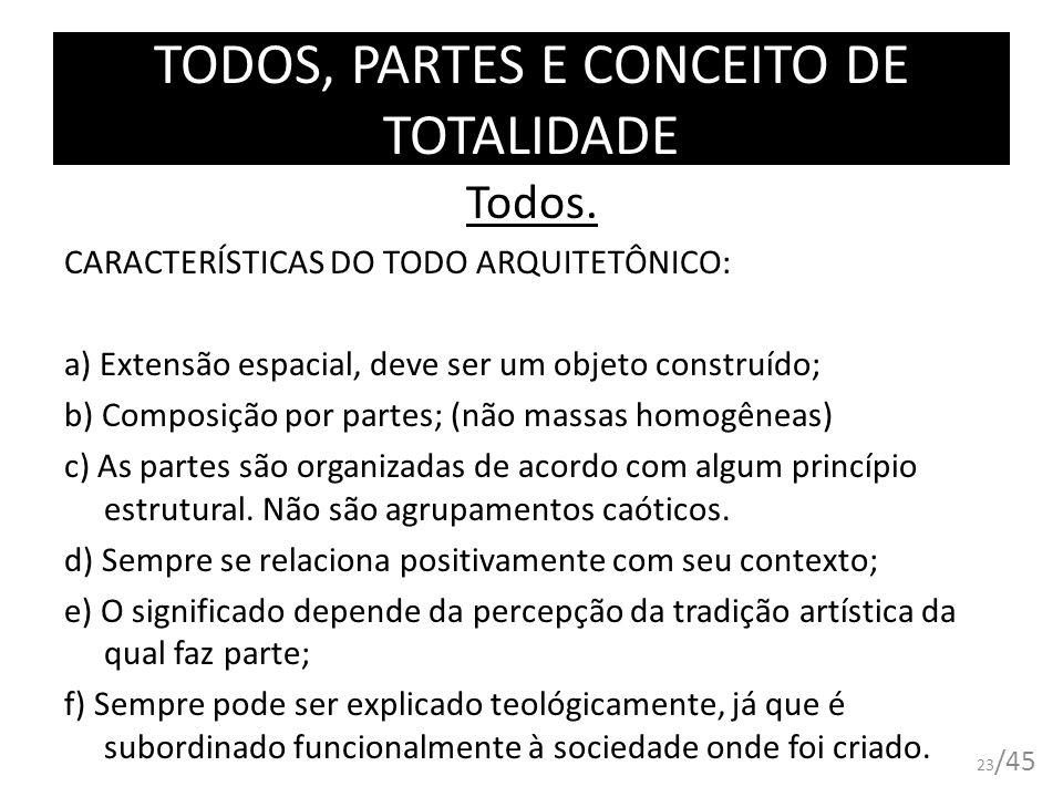 TODOS, PARTES E CONCEITO DE TOTALIDADE Todos. CARACTERÍSTICAS DO TODO ARQUITETÔNICO: a) Extensão espacial, deve ser um objeto construído; b) Composiçã