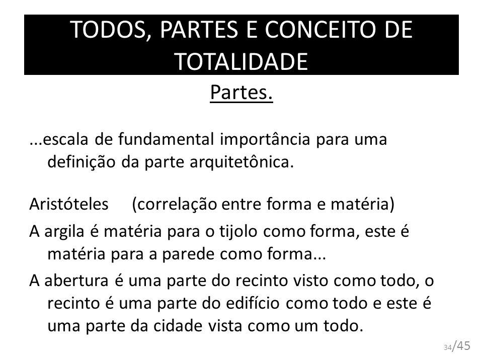 TODOS, PARTES E CONCEITO DE TOTALIDADE Partes....escala de fundamental importância para uma definição da parte arquitetônica. Aristóteles (correlação