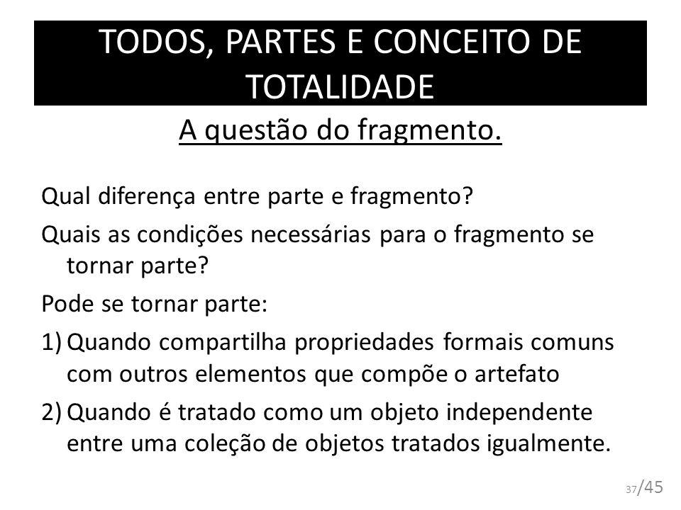 TODOS, PARTES E CONCEITO DE TOTALIDADE A questão do fragmento. Qual diferença entre parte e fragmento? Quais as condições necessárias para o fragmento