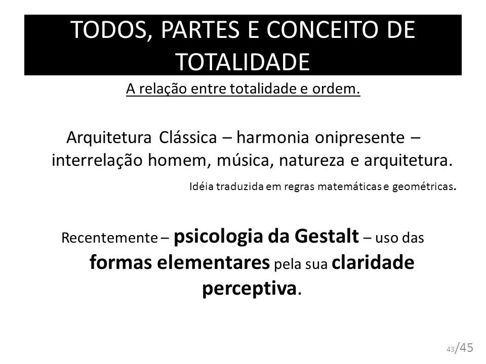 A relação entre totalidade e ordem. Arquitetura Clássica – harmonia onipresente – interrelação homem, música, natureza e arquitetura. Idéia traduzida