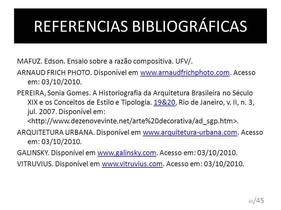 REFERENCIAS BIBLIOGRÁFICAS MAFUZ. Edson. Ensaio sobre a razão compositiva. UFV/. ARNAUD FRICH PHOTO. Disponível em www.arnaudfrichphoto.com. Acesso em