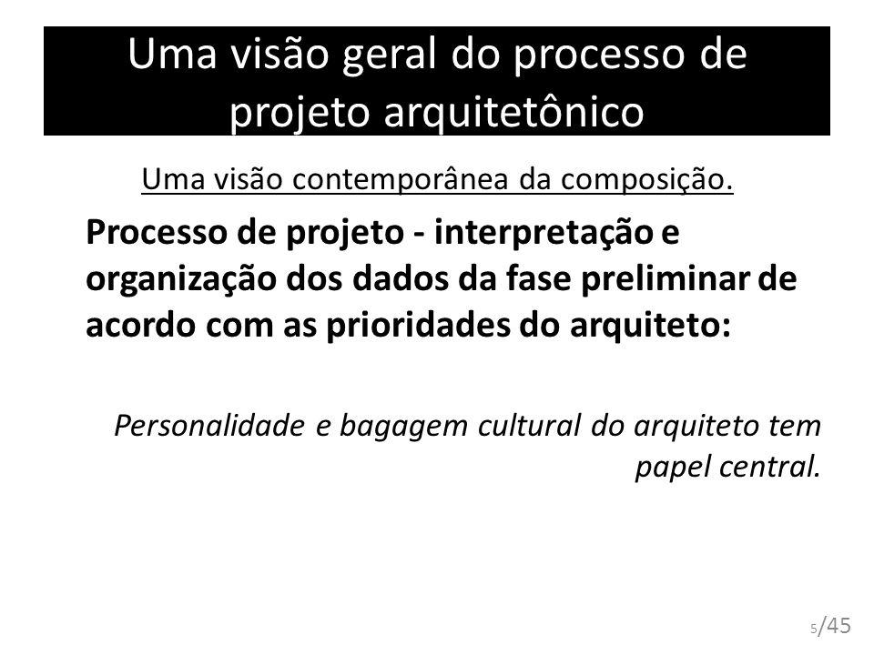 Uma visão geral do processo de projeto arquitetônico Uma visão contemporânea da composição. Processo de projeto - interpretação e organização dos dado