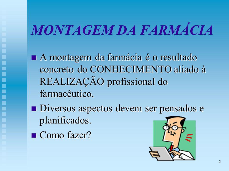 2 MONTAGEM DA FARMÁCIA n A montagem da farmácia é o resultado concreto do CONHECIMENTO aliado à REALIZAÇÃO profissional do farmacêutico.