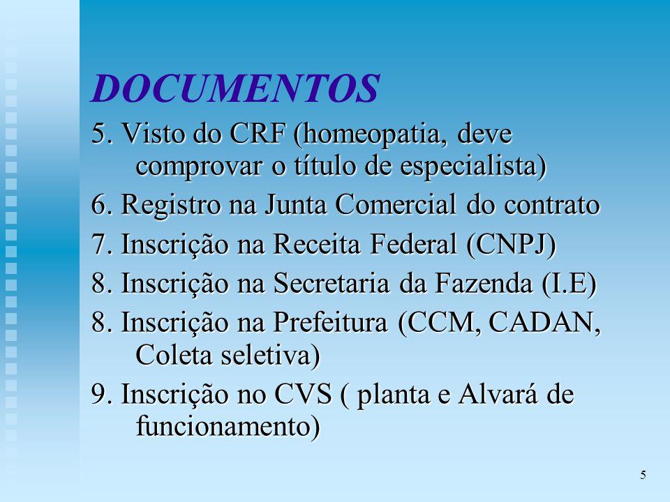 5 DOCUMENTOS 5.Visto do CRF (homeopatia, deve comprovar o título de especialista) 6.