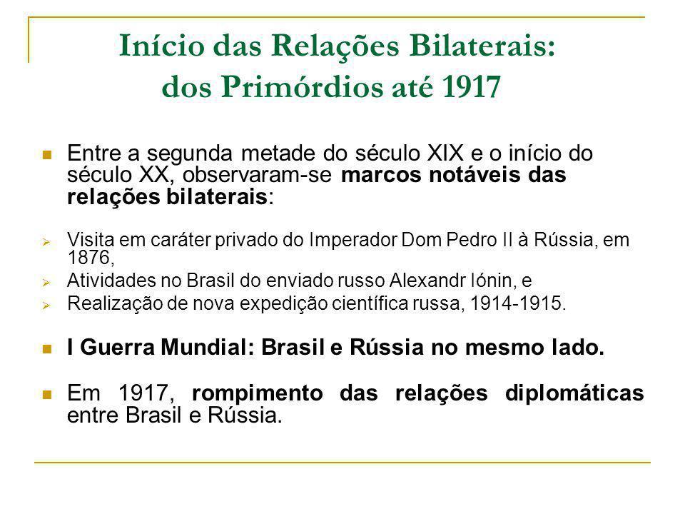 Início das Relações Bilaterais: dos Primórdios até 1917 Entre a segunda metade do século XIX e o início do século XX, observaram-se marcos notáveis da