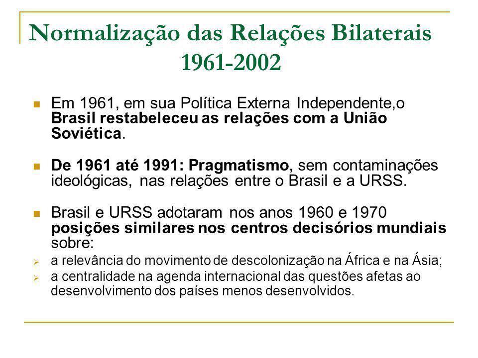 Normalização das Relações Bilaterais 1961-2002 Em 1961, em sua Política Externa Independente,o Brasil restabeleceu as relações com a União Soviética.