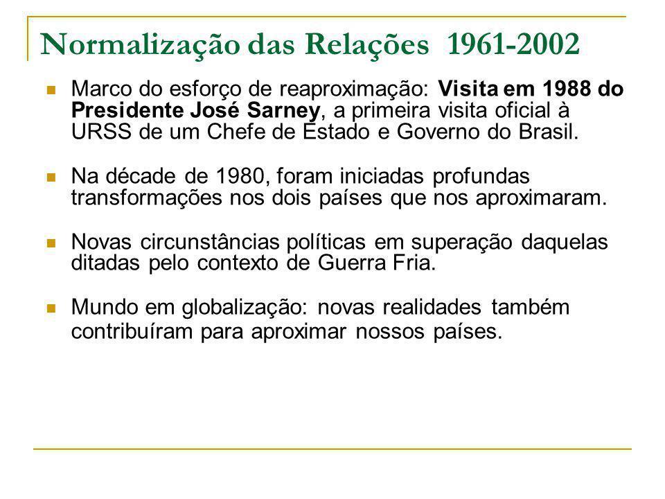 Normalização das Relações 1961-2002 Marco do esforço de reaproximação: Visita em 1988 do Presidente José Sarney, a primeira visita oficial à URSS de um Chefe de Estado e Governo do Brasil.
