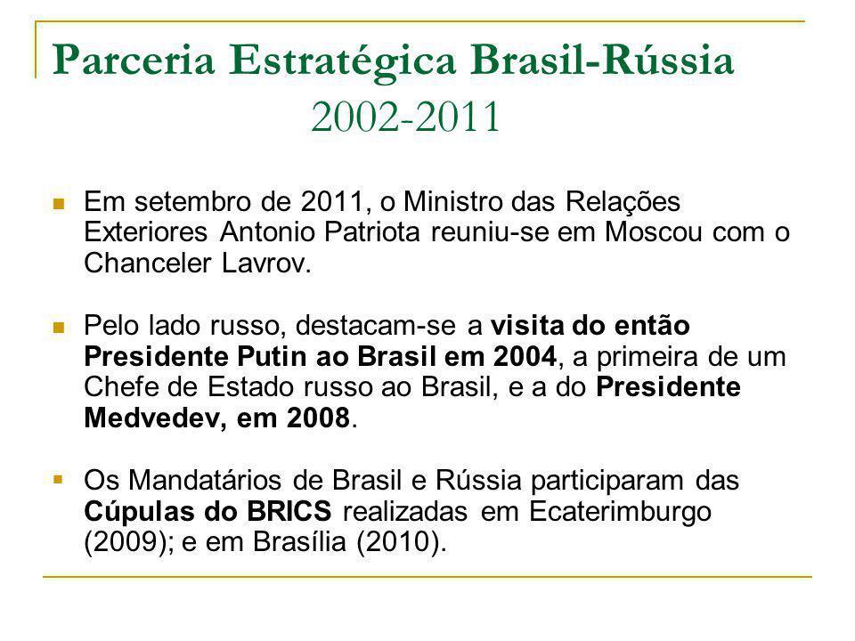 Parceria Estratégica Brasil-Rússia 2002-2011 Em setembro de 2011, o Ministro das Relações Exteriores Antonio Patriota reuniu-se em Moscou com o Chance