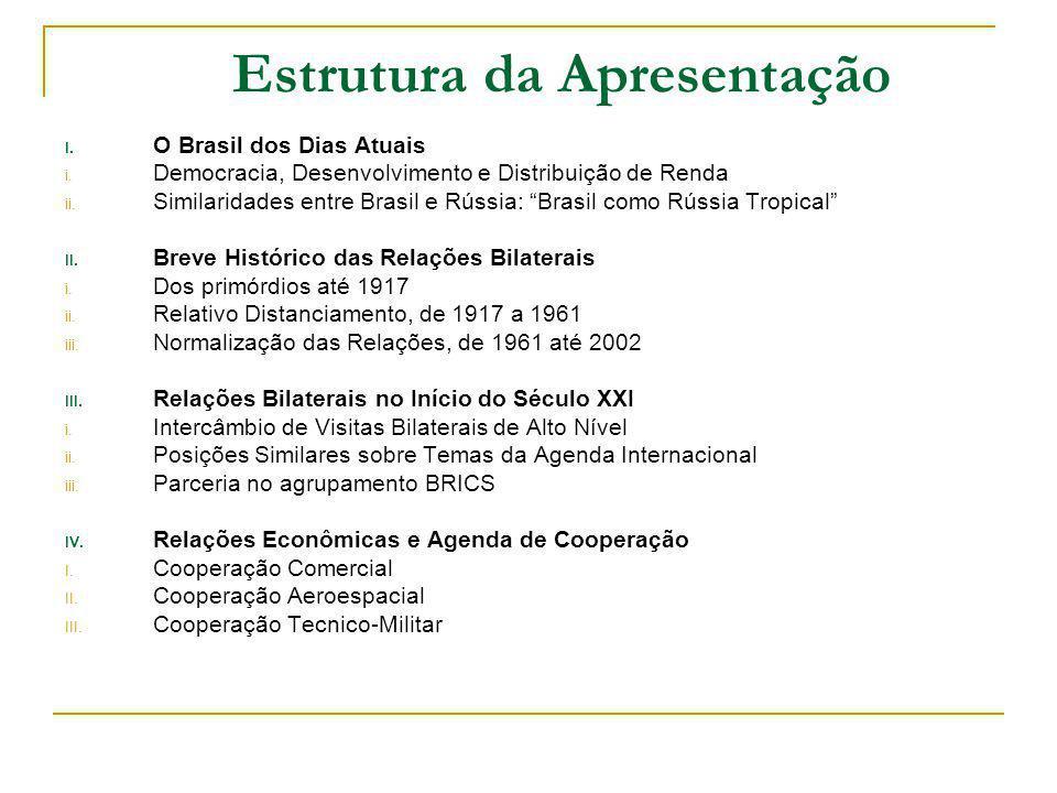 Objetivos Principais da Apresentação Apresentar a complexidade e as realidades do Brasil contemporâneo; Comentar as relações bilaterais entre Brasil e Rússia, sob a perspectiva histórica; Demonstrar que as relações entre Brasil e Rússia estão em um patamar sem precedentes em nossa histórica; e Identificar áreas de maior potencial de cooperação.