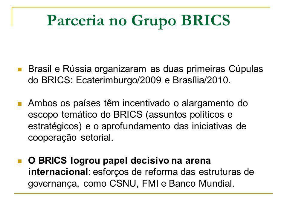 Parceria no Grupo BRICS Brasil e Rússia organizaram as duas primeiras Cúpulas do BRICS: Ecaterimburgo/2009 e Brasília/2010.