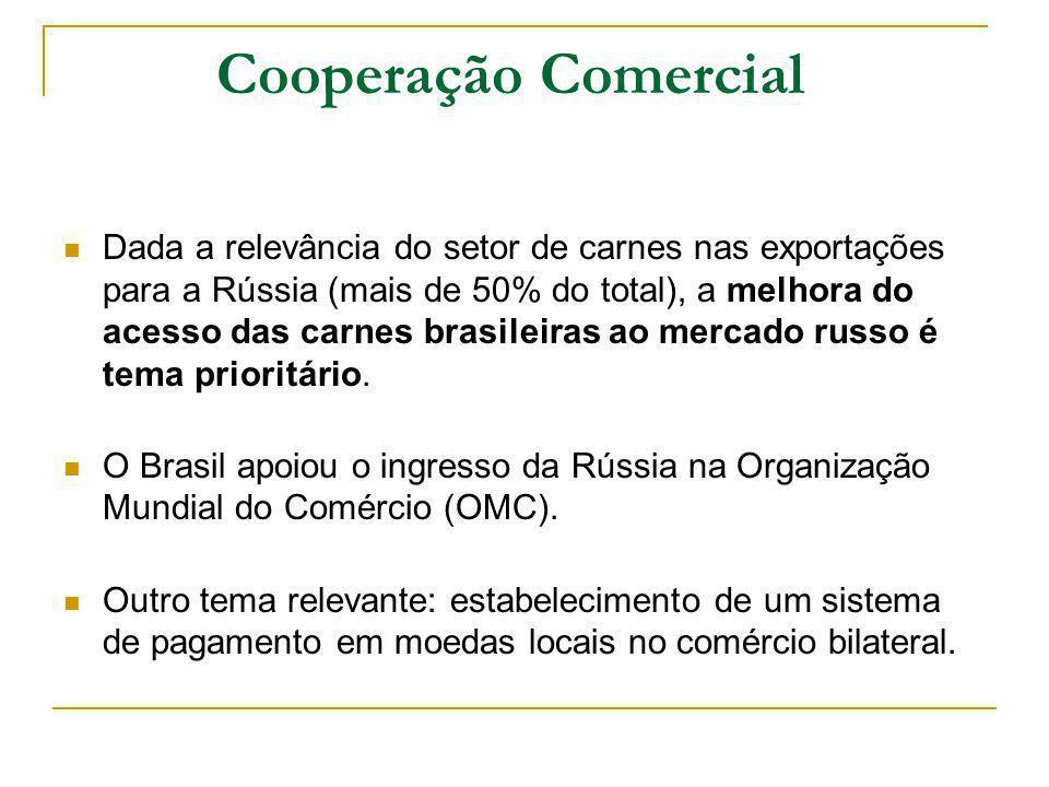 Cooperação Comercial Dada a relevância do setor de carnes nas exportações para a Rússia (mais de 50% do total), a melhora do acesso das carnes brasile