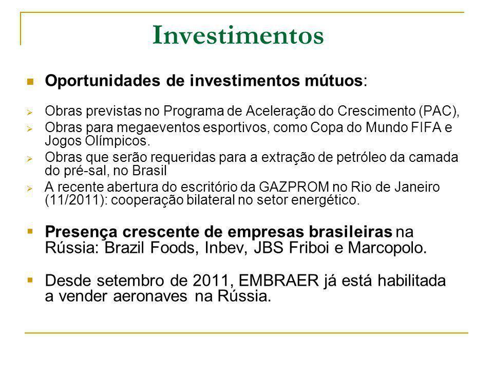 Investimentos Oportunidades de investimentos mútuos: Obras previstas no Programa de Aceleração do Crescimento (PAC), Obras para megaeventos esportivos, como Copa do Mundo FIFA e Jogos Olímpicos.