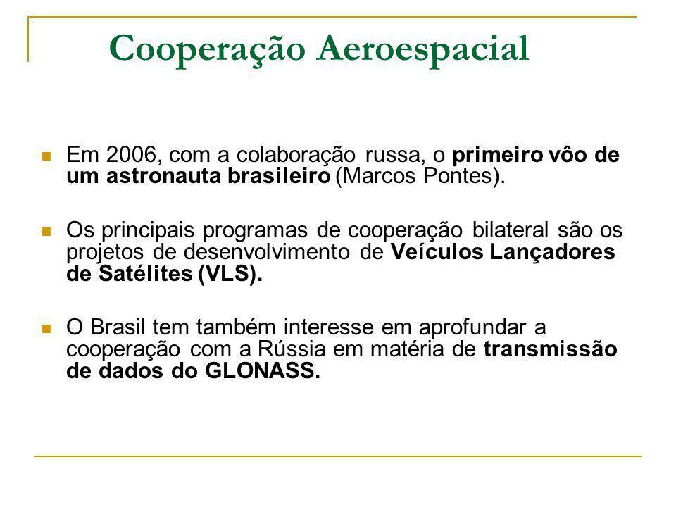 Cooperação Aeroespacial Em 2006, com a colaboração russa, o primeiro vôo de um astronauta brasileiro (Marcos Pontes). Os principais programas de coope