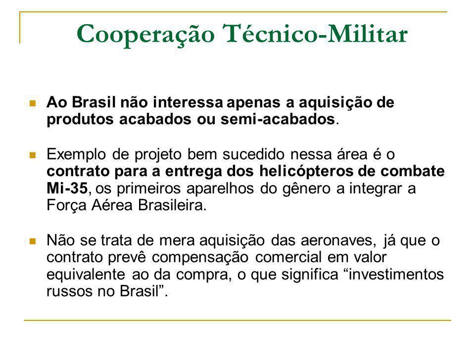 Cooperação Técnico-Militar Ao Brasil não interessa apenas a aquisição de produtos acabados ou semi-acabados.