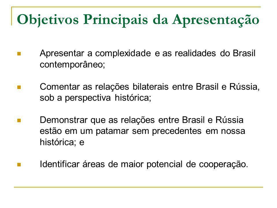 Objetivos Principais da Apresentação Apresentar a complexidade e as realidades do Brasil contemporâneo; Comentar as relações bilaterais entre Brasil e