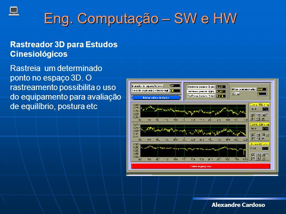 Alexandre Cardoso Eng. Computação – SW e HW Rastreador 3D para Estudos Cinesiológicos Rastreia um determinado ponto no espaço 3D. O rastreamento possi