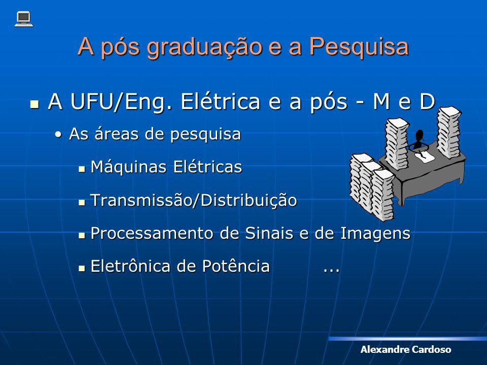 Alexandre Cardoso A pós graduação e a Pesquisa A UFU/Eng. Elétrica e a pós - M e D A UFU/Eng. Elétrica e a pós - M e D As áreas de pesquisaAs áreas de