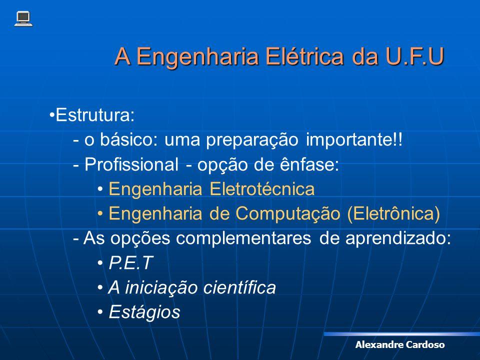Alexandre Cardoso A Engenharia Elétrica da U.F.U Estrutura: - o básico: uma preparação importante!! - Profissional - opção de ênfase: Engenharia Eletr